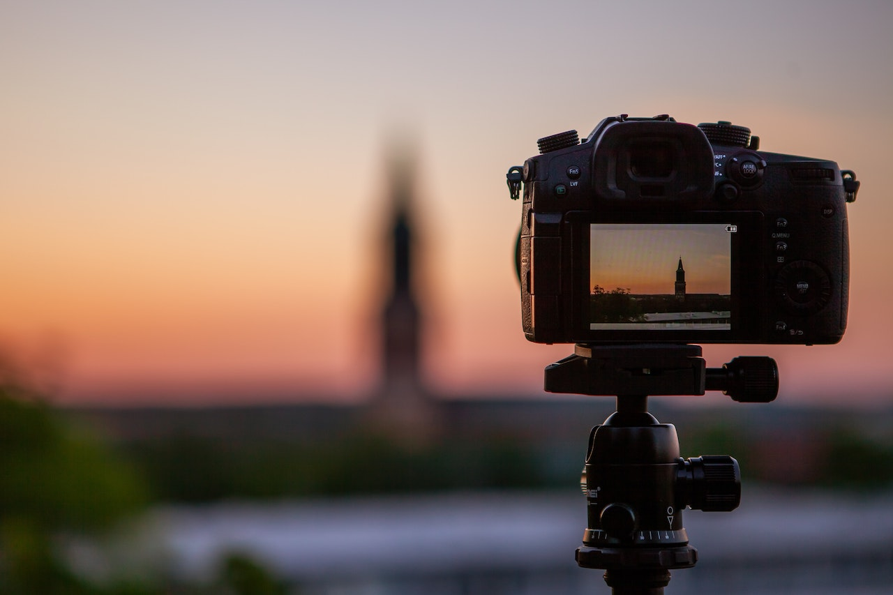 Livestreaming a church with a sunset